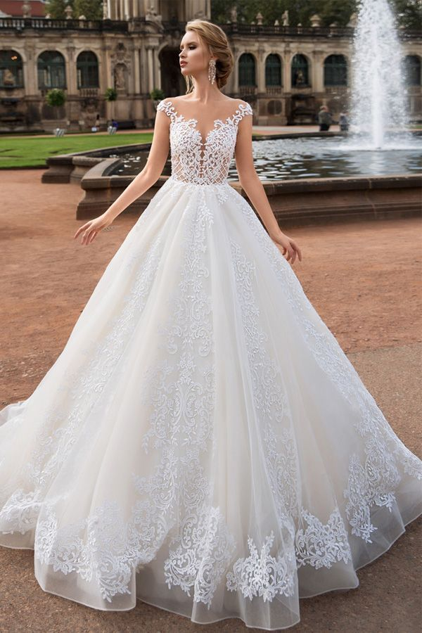 NEW! Fascinating Tulle Bateau Neckline A-Line Wedding Dress with Lace Appliques …