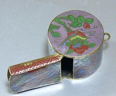 Antique Vintage Cloisonne Enamel Whistle Pendant Necklace Gold on Brass Works