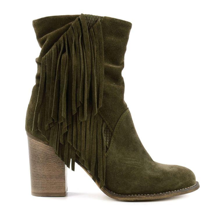 Army green fringe boots - Leger groene franje laarzen