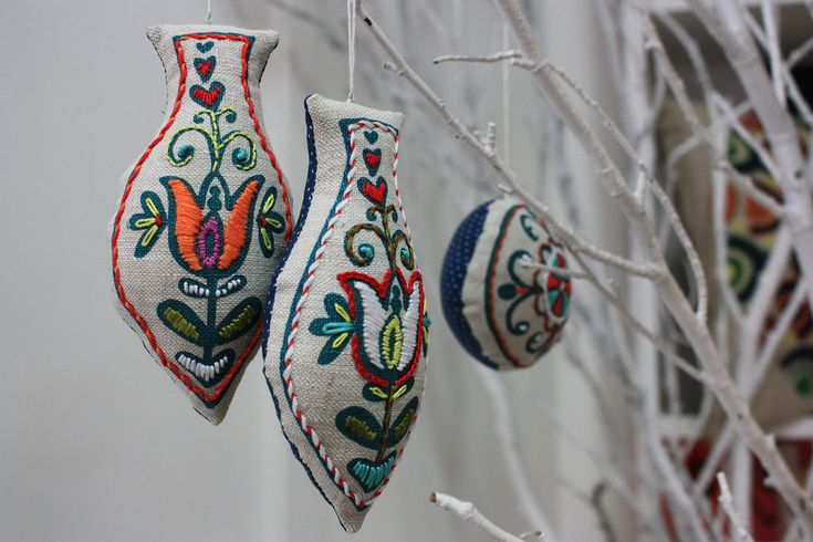 Beautifully embroidery on Christmas ornaments