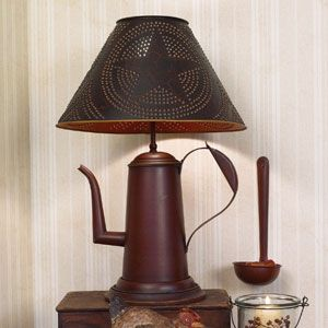 Coffee pot lamp. Great selection at Antiques and More at Staley Road Champaign Il.