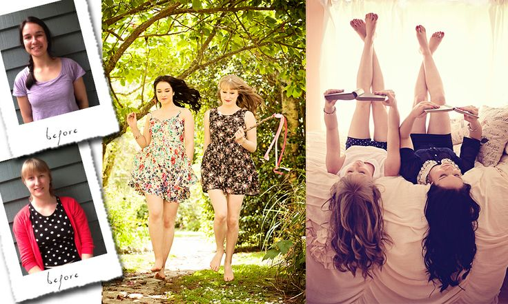 Besties shoot, best friends, Before and After