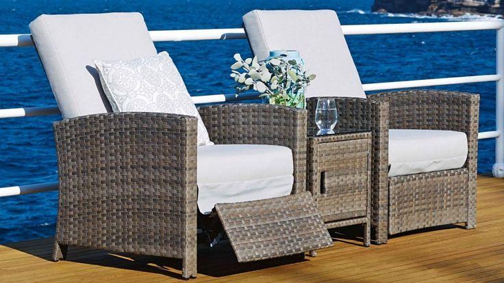 Hampton 3 Piece Outdoor Recliner Suite - Outdoor Lounges - Outdoor Living - Furniture, Outdoor & BBQs   Harvey Norman Australia