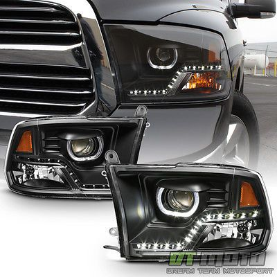 Black 2009-2017 Dodge Ram 1500 2500 3500 DRL LED Projector Halo Headlights Lamps