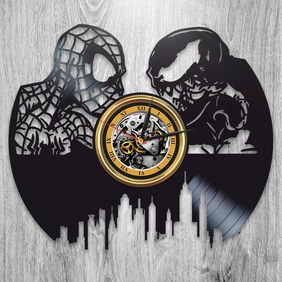 Spider Man Vs Venom Wall Art 12 Inch Clock Spider Man Marvel Comics Wall Clock Modern Lp Retro Vinyl Record W Clock Spider Vintage Wall Clock Wall Clock Modern