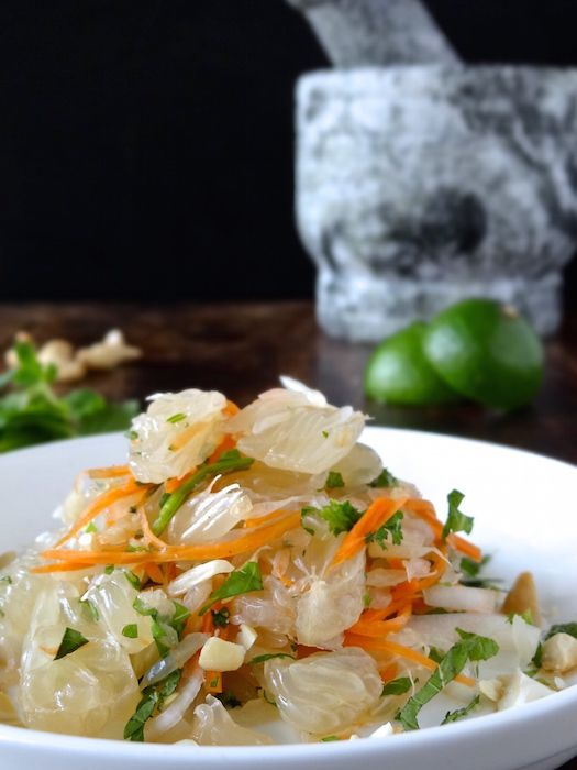 A zingy, tangy, sweet & sour Thai inspired salad - perfect for a shared table or a meal in itself. A perfect salad dressing for summer. | Plus Ate Six