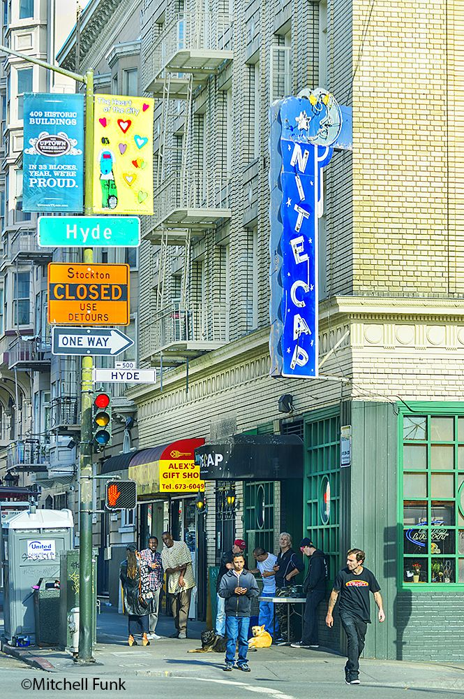 Blade sign, Nite Cap Dive Bar In The Tenderloin, San Francisco By Mitchell Funk www.mitchellfuk.com