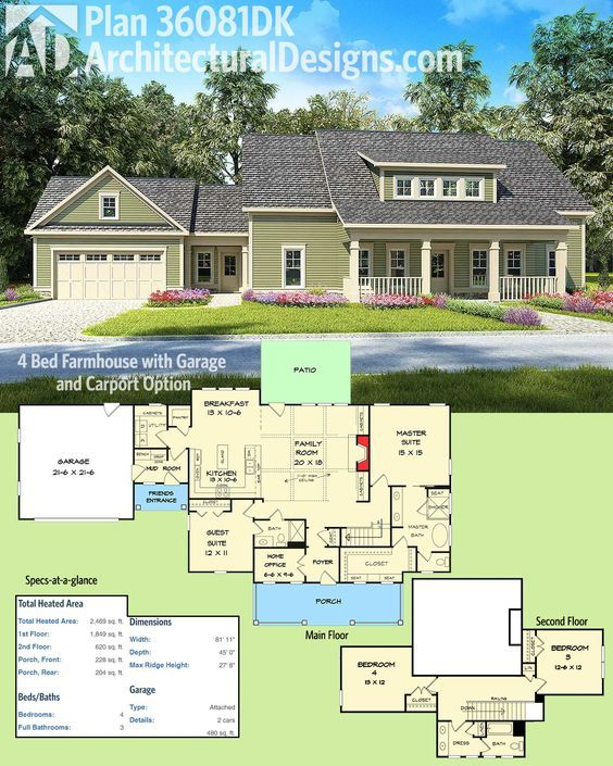 Plan 36081dk 4 Bed Farmhouse With Garage And Carport