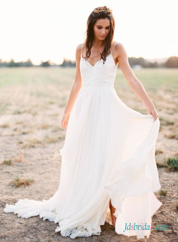 H1403 Romance simple boho beach wedding dress with thin straps