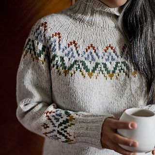 The Hadley Pullover has a roomy but shaped silhouette, for flattering ease, and a modern, simple colorwork pattern that recalls European stranded colorwork and Native American trade blankets at the same time.