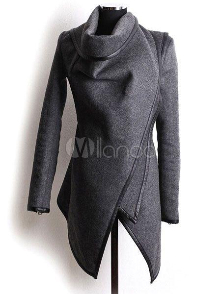 Casacos de Inverno Feminino Grey Irregular Piping Cotton Woolen Outerwear