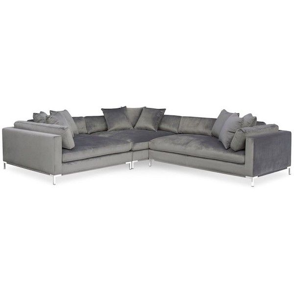 Moda 3-Piece Sectional with Right-Facing Chaise Gray ($1,700) ❤ liked on Polyvore featuring home, furniture, sofas, 3 piece couch, gray chaise, 3 piece sofa, grey corner sofa and grey furniture