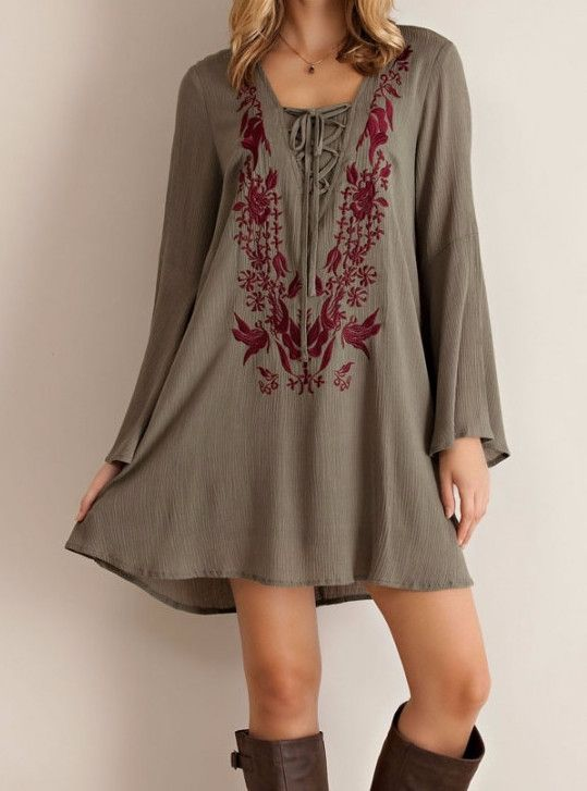 Embroidered Lace up Dress