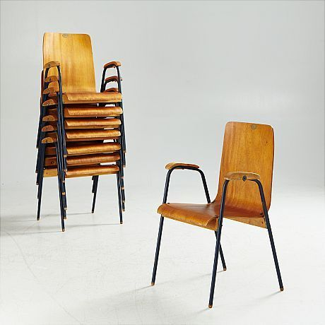 Stackable,8 peaces available the price is for one chairSeat height 45cm Provenance: Vrena People's House