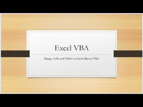 Range,Cells and Offset-Excel Macro/VBA - YouTube | Excel