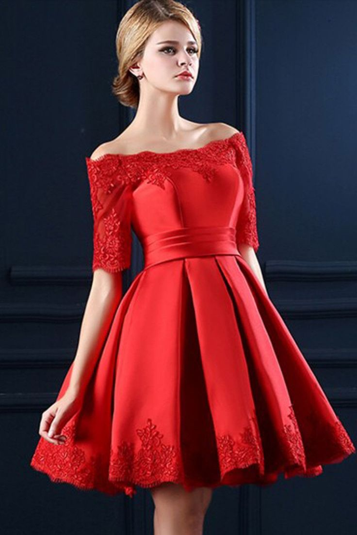 Lace Boat Neckline Red Back Up Lace Homecoming Cocktail Dresses