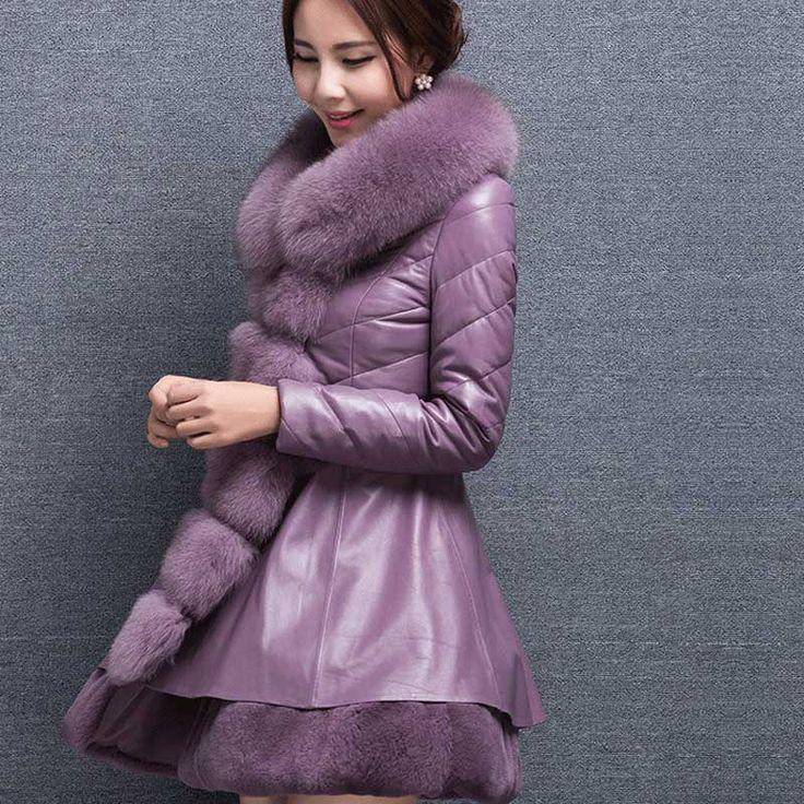 Купить товар2016 новый имитация меховой воротник лиса женские зимние шуба долго Тонкий кожаное пальто толстые зимняя одежда в категории Мех натуральный и искусственныйна AliExpress.