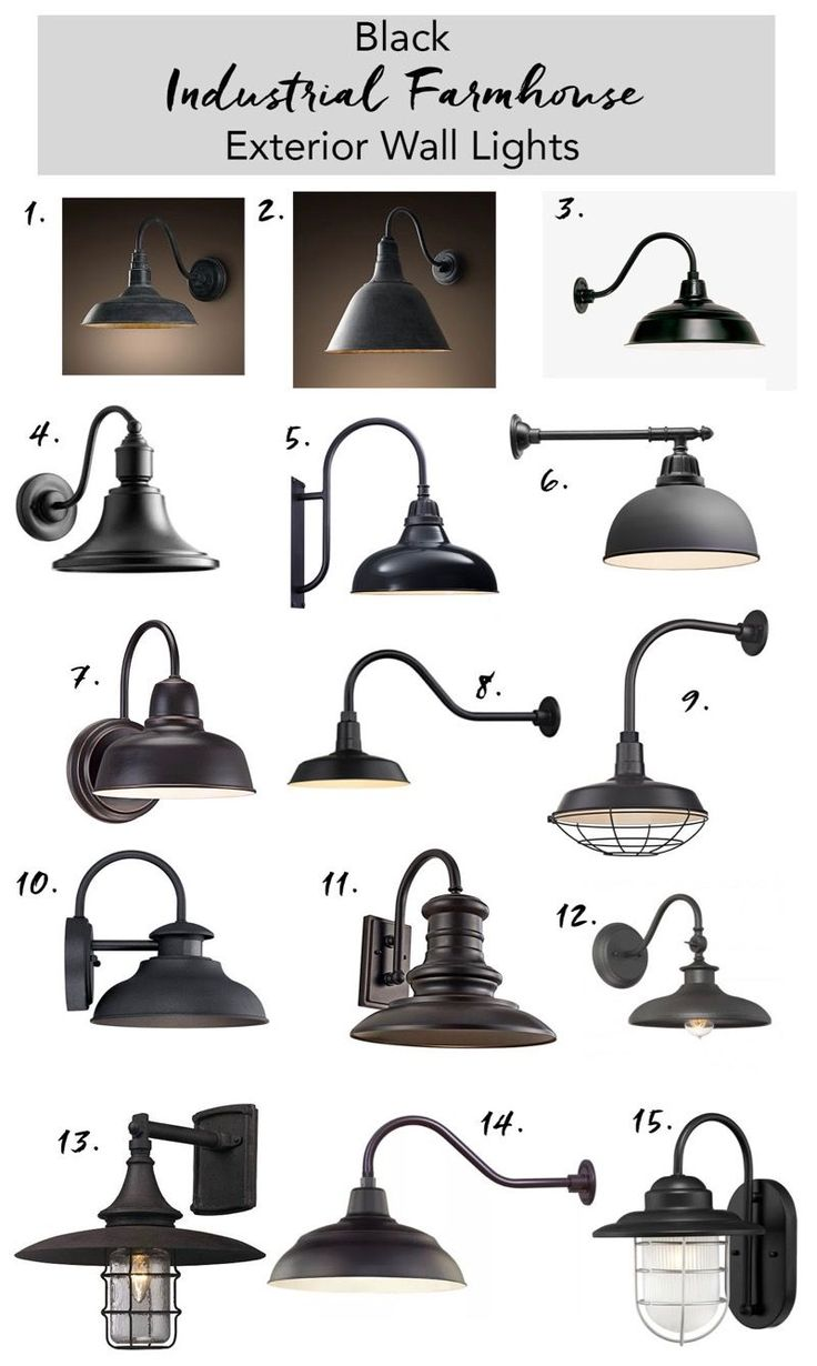 Black exterior farmhouse wall lighting