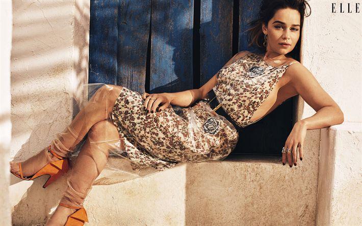 Descargar fondos de pantalla Emilia Clarke, la actriz Británica, mujer bella, popular actrices, la Revista Elle