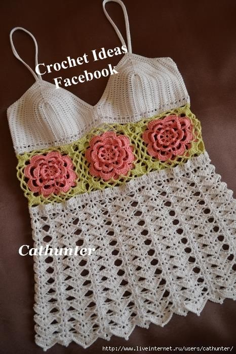 rose embellished crocheted tank