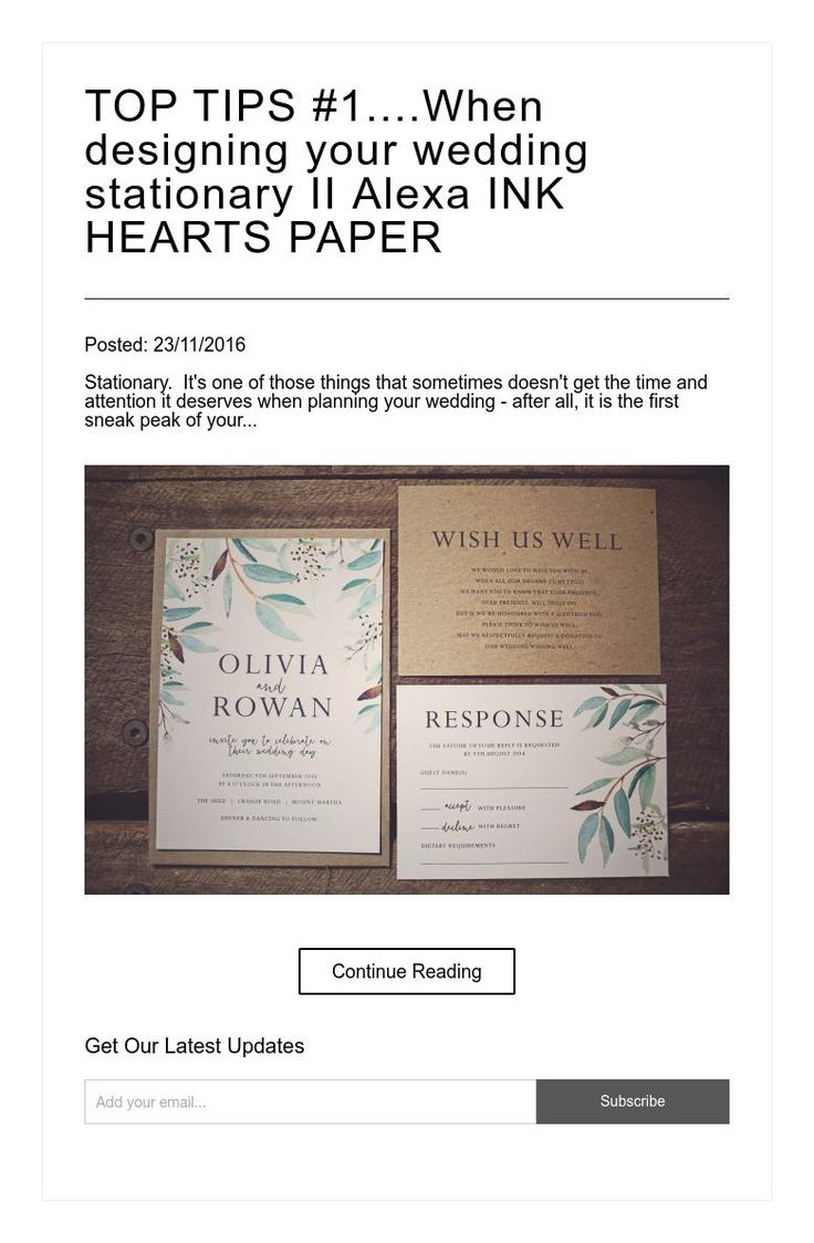 TOP TIPS #1....When designing your wedding stationary  II  Alexa INK HEARTS PAPER