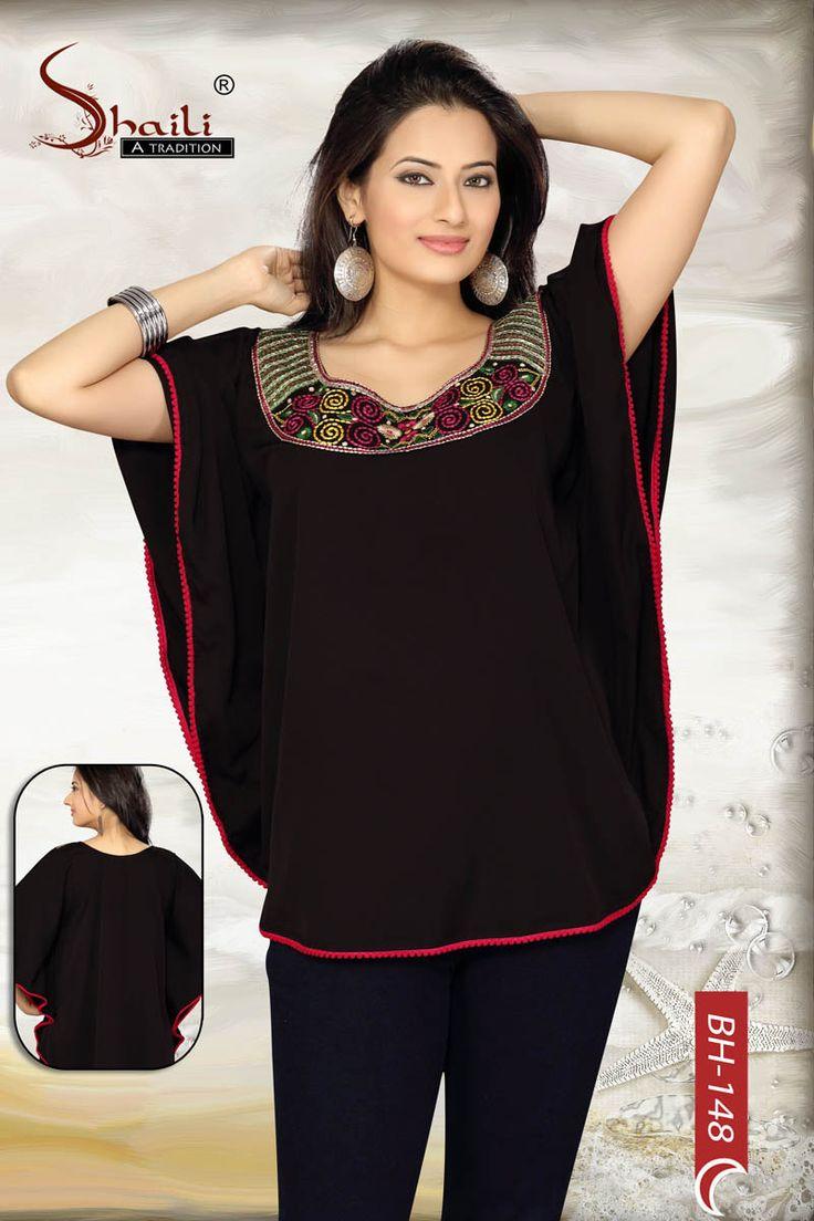 The Joyous Black Chic Kaftan Kurti Top by Snehal Creation