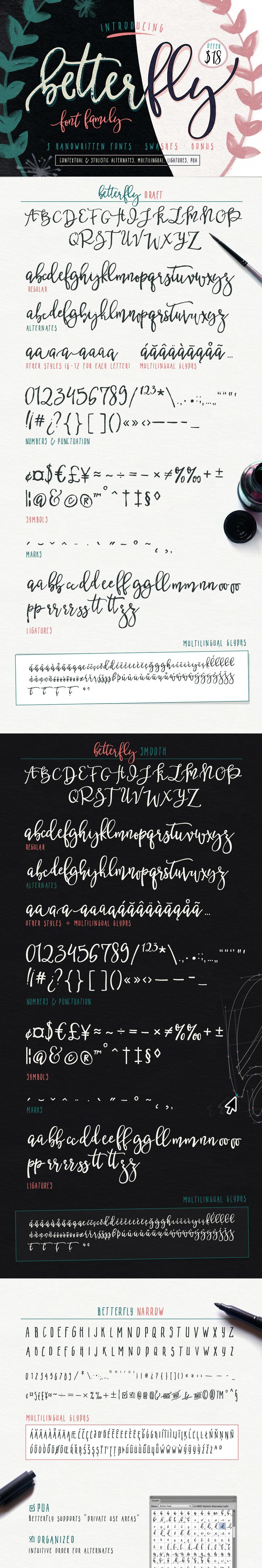 BetterFly - 3 modern fonts & swashes by Blessed Print on @creativemarket