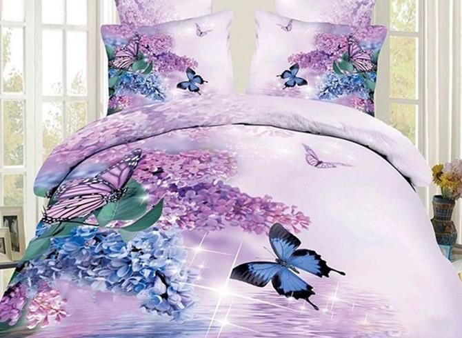 3d Butterfly And Lilac Printed Cotton Luxury 4 Piece Bedding Sets Duvet Covers Bedding Sets 3d Bedding Sets Bed Linens Luxury