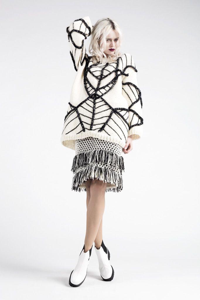 Embroidered sweater & fringe skirt; contemporary knitwear design // Anna Dudzinska