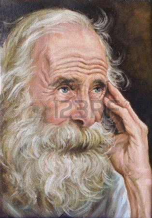 pintura al óleo Retrato de un hombre con barba tupida foto en blanco