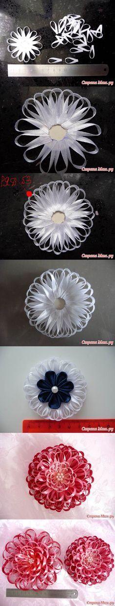 DIY estrecho flor de la cinta del satén 2