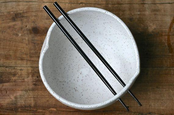 Handmade chopstick bowl, heart shaped, black speckle, rustic minimal kitchen, rice bowl, ramen, udon, salad.