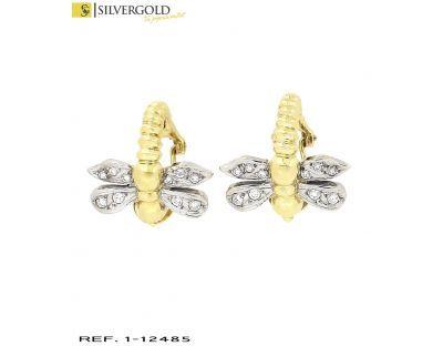 1-1-12485-1-Pendientes en forma de libelula con detalalles en oro blanco y zirconita, cierre omega