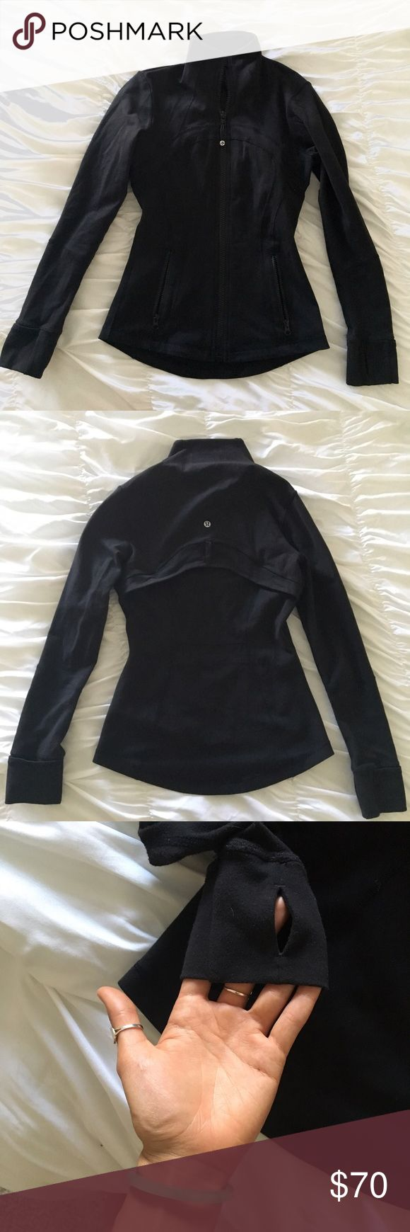 Lululemon Define Black Athletic Jacket Size 4 which fits a size xs/s. Worn maybe 2 times. It's black and has thumb holes too. Cheaper on Ⓜ️ lululemon athletica Jackets & Coats
