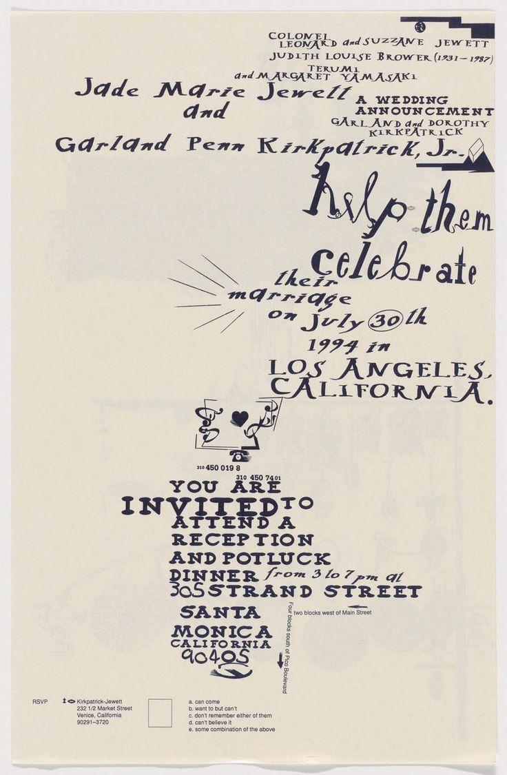 Edward Fella,1994, Wedding invite