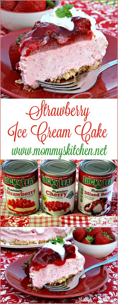 @LuckyLeaf Strawberry fruit filling gives this easy ice cream cake it's beautiful coloring and strawberry flavor. End your summer on a sweet note with the deliciously easy ice cream cake. #LuckyLeaf #summer #icecreamcake #strawberry#mommyskitchen #ad