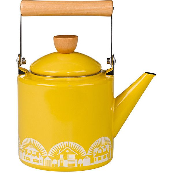 Mini Moderns Enamel Kettle found on Polyvore featuring home, kitchen & dining, cookware, yellow, yellow cookware, mini cookware, enamel kettle, mini tea kettle and enamel coated cookware