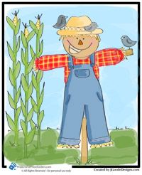 Free scarecrow coloring page