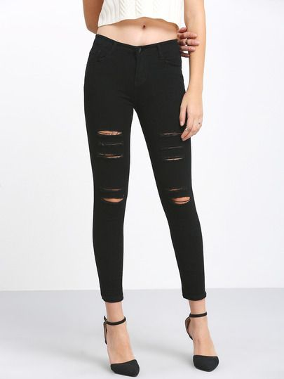 Shop Black High Waist Ripped Denim Pant online. SheIn offers Black High Waist Ripped Denim Pant & more to fit your fashionable needs.