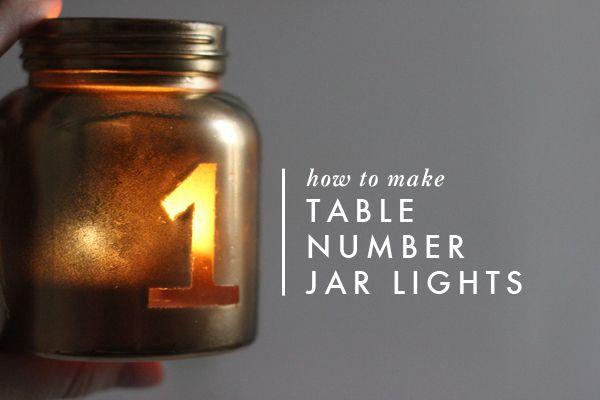 DIY Table Number Jar Light