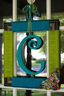 picture frame wreath with my initial