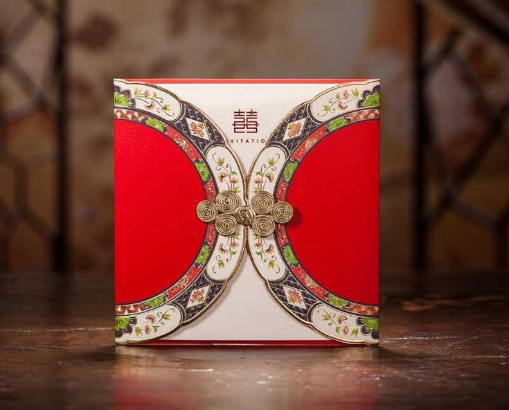 Chinese Garden Red Double Happiness Wedding Invitation Card Chinese Vintage Style Marriage Card Free Customized Print Text  from $1.26 including free shipping