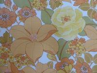 papier peint fleurs jaune orange vert