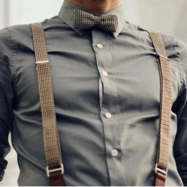Brown suspenders with matching bow tie and grey shirt. Great for special occasions.