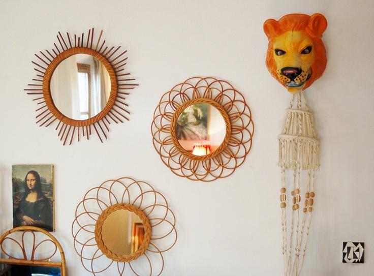 Eklektic d co vintage miroirs rotin vintage baby room for Miroir mural soleil