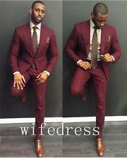 Custom Made Burgundy Men Suit Groom Wedding Best Man Formal Tuxedos Jacket Pants