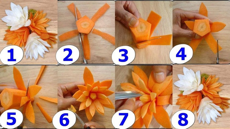 Carrot flower carving pinterest and carrots