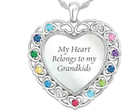 7c2e681fb9a90 Personalized Grandma Birthstone Necklace with Grandkids' Names ...