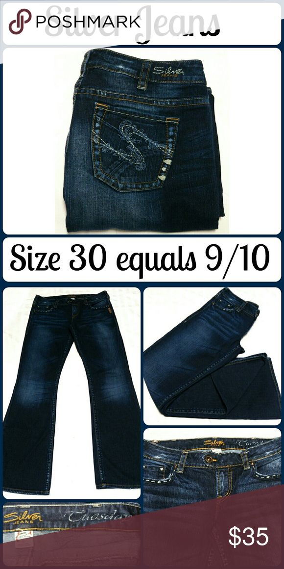 """Sz 30 Silver """"Tuesday"""" Jeans, Distressed Boot cut Super cute and a perfect wardrobe staple! Brand new with tags. Size 30. Adorable embroidery on the front and back packets, flattering slim boot cut, 99% Cotton, 1% Spandex.  Waist 34"""", Inseam 33"""", Rise 8? No rips, tears, or stains.... From a smoke-free, dog friendly home, No trades (J74) Silver Jeans Jeans Boot Cut"""