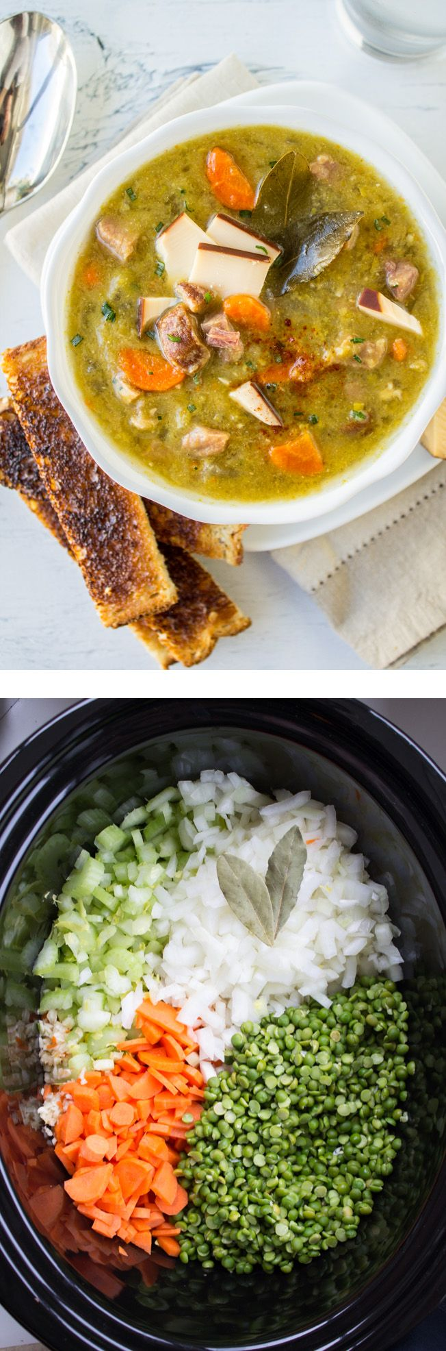 Split Pea Soup with Smoked Gouda (Slow Cooker) - from The Food Charlatan // Throw this in the slow cooker and forget about it! You will not believe how awesome split pea is with gouda.